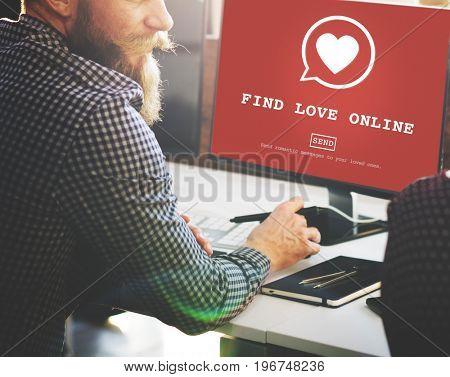 Find Love Online Valentines heart symbol on red screen