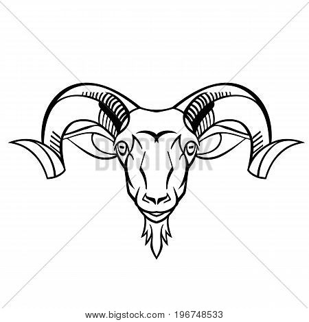 ram head twisted horns mountain dwellers separate head vector black and white can be used as a design shirts and Logo Design