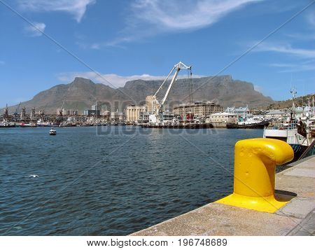 FROM CAPE TOWN, SOUTH AFRICA, VICTORIA AND ALFRED WATERFRONT, WITH TABLE MOUNTAIN IN THE BACK GROUND