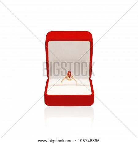 Golden Ring With Amber In Red Box Isolated On A White Background