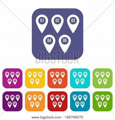 Pointer marks icons set vector illustration in flat style in colors red, blue, green, and other