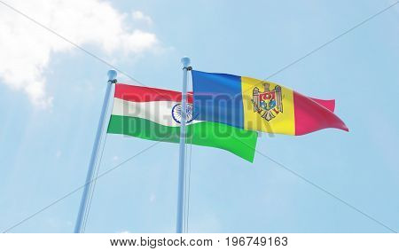 Moldova and India, two flags waving against blue sky. 3d image