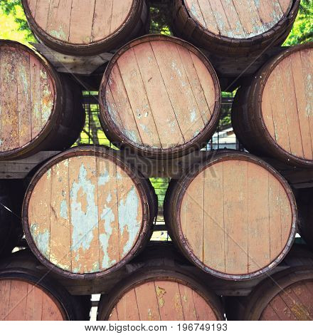 Many Wooden A Barrels Closeup Textured Outdoors For Background