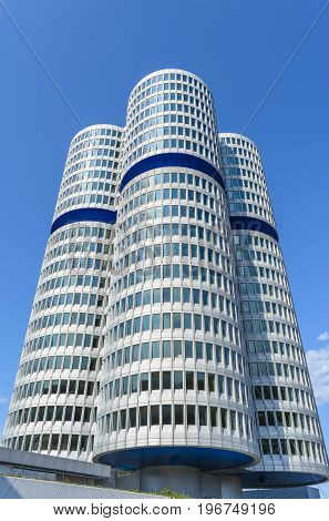 Munich Germany - July 19: The famous BMW office building with headquarters cylinder towers.