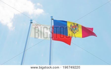 Moldova and Malta, two flags waving against blue sky. 3d image