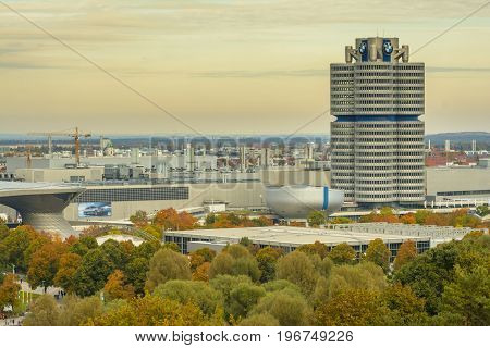 The famous BMW building seen from Olympiapark in an autumn evening on October 23 2016 in Munich Bavaria Germany.