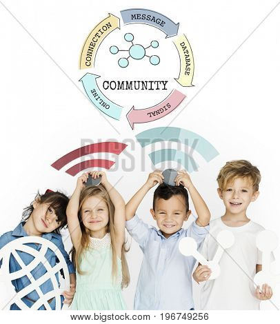 Children holding banner network graphic overlay background