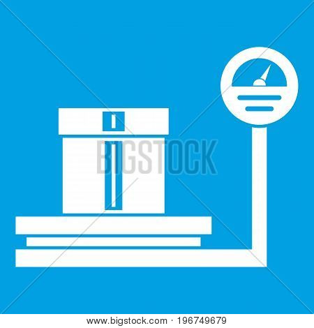 Shop scales icon white isolated on blue background vector illustration