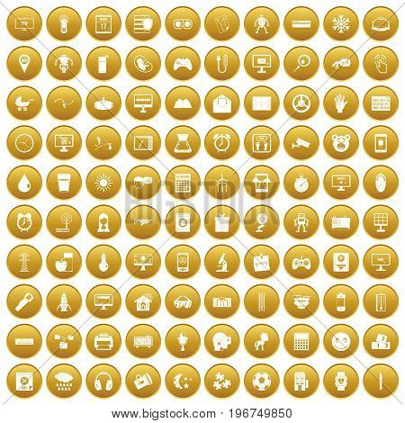 100 app icons set in gold circle isolated on white vector illustration