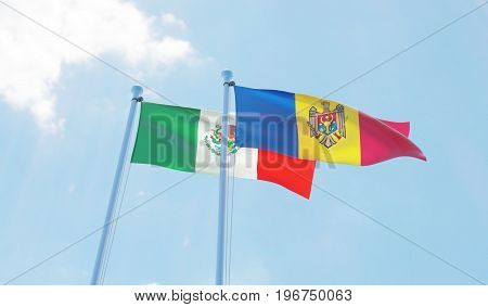 Moldova and Mexico, two flags waving against blue sky. 3d image