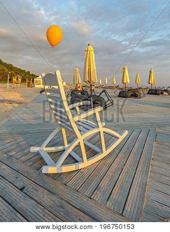 Public domain beach at the Baltic Sea during sunrise