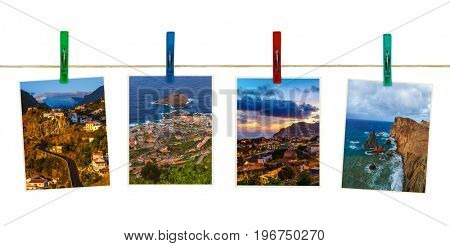 Madeira island in Portugal images (my photos) on clothespins isolated on white background