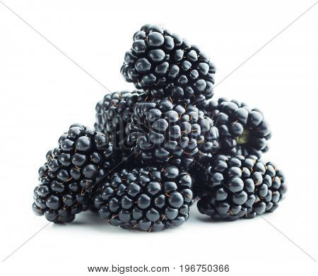 Tasty ripe blackberry isolated on white background.