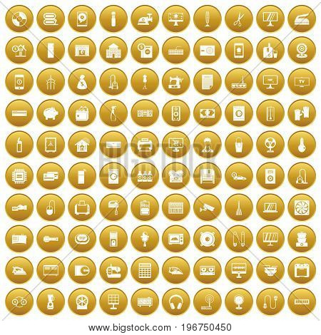 100 appliances icons set in gold circle isolated on white vector illustration