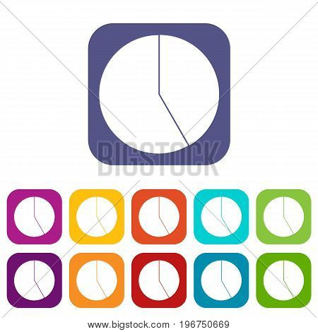 Abstract pie chart for business icons set vector illustration in flat style in colors red, blue, green, and other
