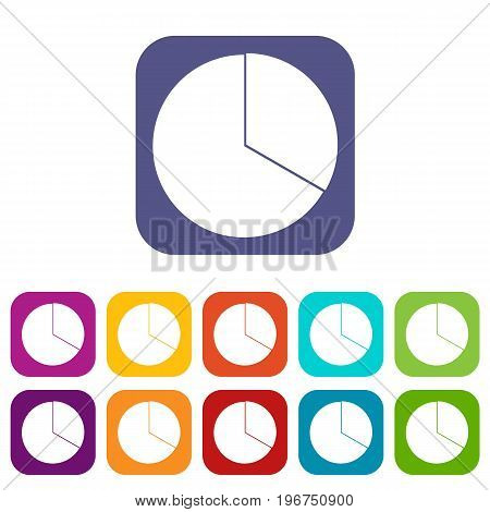 Circle chart infographic icons set vector illustration in flat style in colors red, blue, green, and other