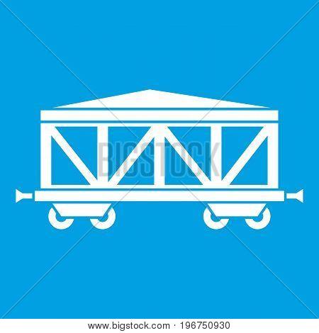 Train cargo wagon icon white isolated on blue background vector illustration