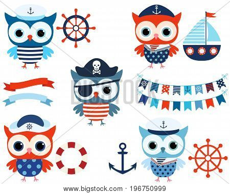 Vector nautical set with cute sailor and pirate owls with ocean themed objects and buntings
