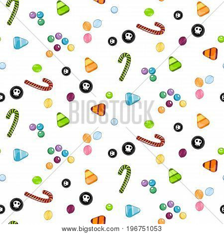 Halloween candy seamless pattern. Texture with sweets candy corn and pumpkins on black background. Vector illustration