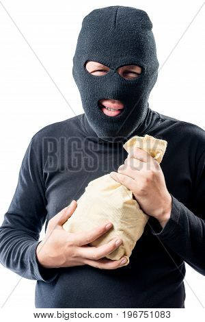 Robber In A Mask With A Bag Of Money On A White Background