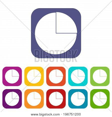 Graphs chart statistic icons set vector illustration in flat style in colors red, blue, green, and other