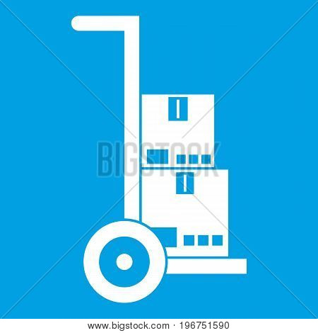 Hand cart with cardboards icon white isolated on blue background vector illustration