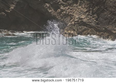 breaching waves at the coast of Fuerteventura