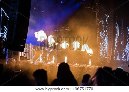 Flame Projectors On A Live Edm Concert