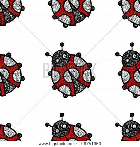 Embroidered ladybug on a white background - seamless pattern. Handmade. Vector illustration.