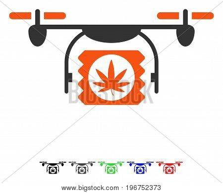 Drugs Drone Shipment flat vector icon with colored versions. Color drugs drone shipment icon variants with black, gray, green, blue, red.