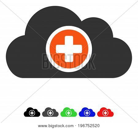 Health Care Cloud flat vector illustration with colored versions. Color health care cloud icon variants with black, gray, green, blue, red.