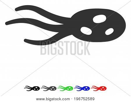 Intrude Microorganism flat vector illustration with colored versions. Color intrude microorganism icon variants with black, gray, green, blue, red.