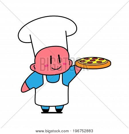 Kawaii chef smiling and holding plate with pizza.