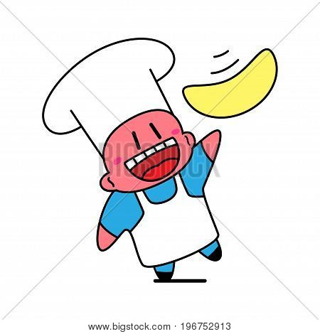 Kawaii chef laughing and tossing pizza dough.