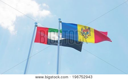 Moldova and United Arab Emirates, two flags waving against blue sky. 3d image