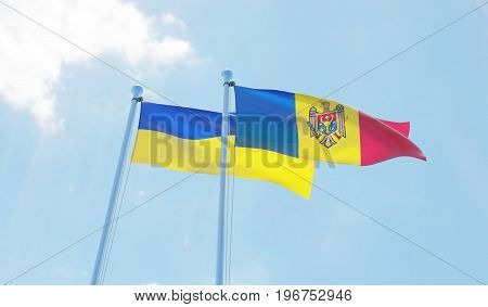 Moldova and Ukraine, two flags waving against blue sky. 3d image