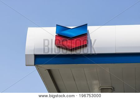 Las Vegas - Circa July 2017: Chevron Retail Gas Station. Chevron traces its roots to the Standard Oil Corporation