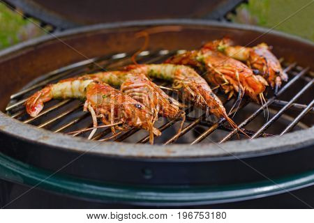 Shrimp Grilled Bbq Seafood On Stove, Food