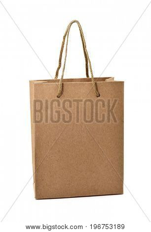 a brown paper shopping bag with handles on a white background