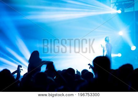 Crowd Of People Enjoying Hip Hop Rap Concert