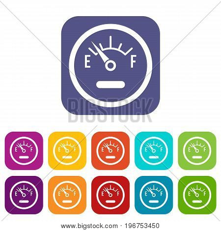 Fuel sensor icons set vector illustration in flat style in colors red, blue, green, and other