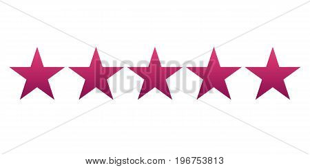 Five red gradient star. Vector illustration. Light background. Eps10.