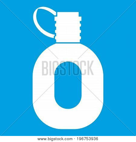 Tourist flask icon white isolated on blue background vector illustration
