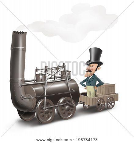 man driving an old trane, first steam locomotive