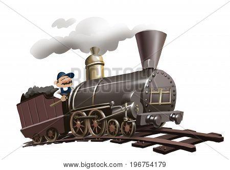 man driving an old trane, first locomotive