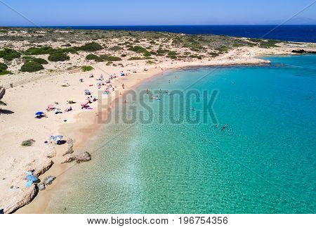 Aerial view of Finikas Beach on Ano Koufonisi, Small Cyclades, Greece