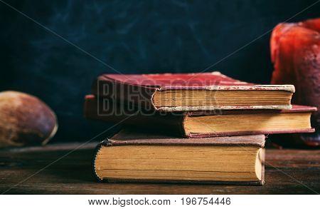 Vintage Books Stack On Black Background