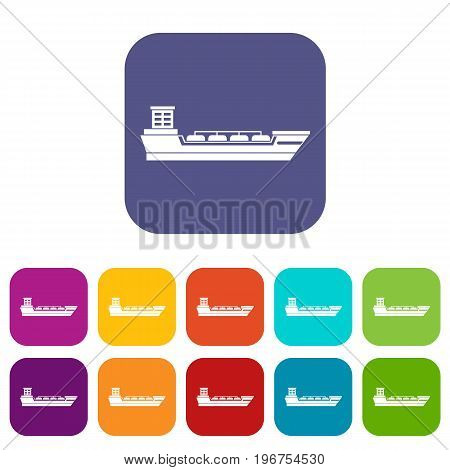 Oil tanker ship icons set vector illustration in flat style in colors red, blue, green, and other