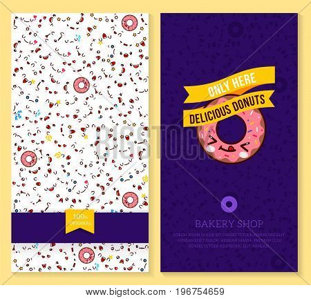 Kawaii two sided brochure flyer for bakery shop. funny tickets design with emotion pattern and sweet donut. Vector illustration.