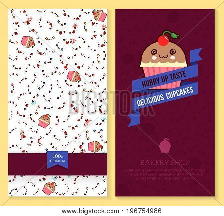 Kawaii two sided brochure flyer for bakery shop. funny tickets design with emotion pattern and sweet cupcakes. Vector illustration.